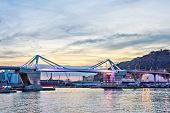 Europa Bridge at the entrance to Port Vell Barcelona, Catalunya Spain. Beautiful peaceful view sunset sky poster