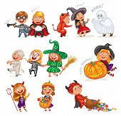 Happy Halloween. Funny little children in colorful costumes. Robber, ghost, mummy, skeleton, witch, vampire, devil. Cartoon character. Vector illustration. Isolated on white background poster