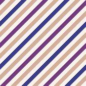 Seamless geometric pattern. Stripy texture for neck tie. Diagonal contrast strip background. White, blue, violet, pale orange colors. Vector poster