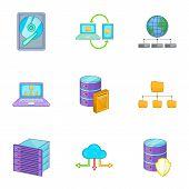 Hosting technology computer network service icons set. Cartoon illustration of 9 hosting technology computer network service vector icons for web poster