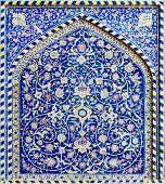 tiled background oriental ornaments from Isfahan Mosque Iran poster