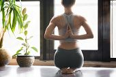 Young woman practicing yoga with namaste behind the back, sitting in seiza exercise, vajrasana pose, working out, wearing sportswear, grey pants, bra, indoor, home interior background, rear view poster