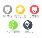 Drama, detective, comedy, adventure, horror film logo web button. Types of film logos isolated on white. Movie genre elements, vector infographic icons. Movie genres symbols set. Vector illustration poster