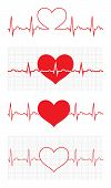 Heart beat cardiogram. Sign Cardiac cycle. Creative concept of world heart day. Vector illustration. Isolated on white background. Set poster