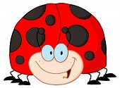 Happy Red Ladybug Black Points Cartoon Character poster