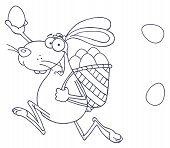 Outlined Happy Easter Rabbit Running With A Basket And Egg poster