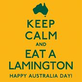 'Keep Calm and Eat a Lamington' poster in vector format. poster