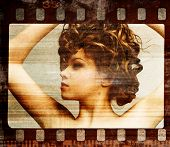Grunge film frame. Retro shot. Fashion art photo poster