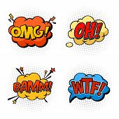 Omg and oh, wtf and bam bubble comic speeches. Onomatopoeia exclamations or sounds effects of question and confusion, explosion and burst. Cartoon book or humour message clouds for comix poster