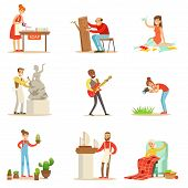 Adult People And Their Creative And Artistic Hobbies Series Of Cartoon Characters Doing Their Favorite Things.Smiling Happy Men And Women Expressing Their Creativity Through Art Vector Illustrations. poster