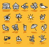 summer,holidays,sun icons set - illustrations - icons set - poster