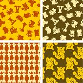 exotic animals - seamless pattern poster