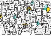 happy birthday - hand drawn cartoon greeting card poster