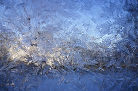 Frost on window on cold morning in central Iowa.