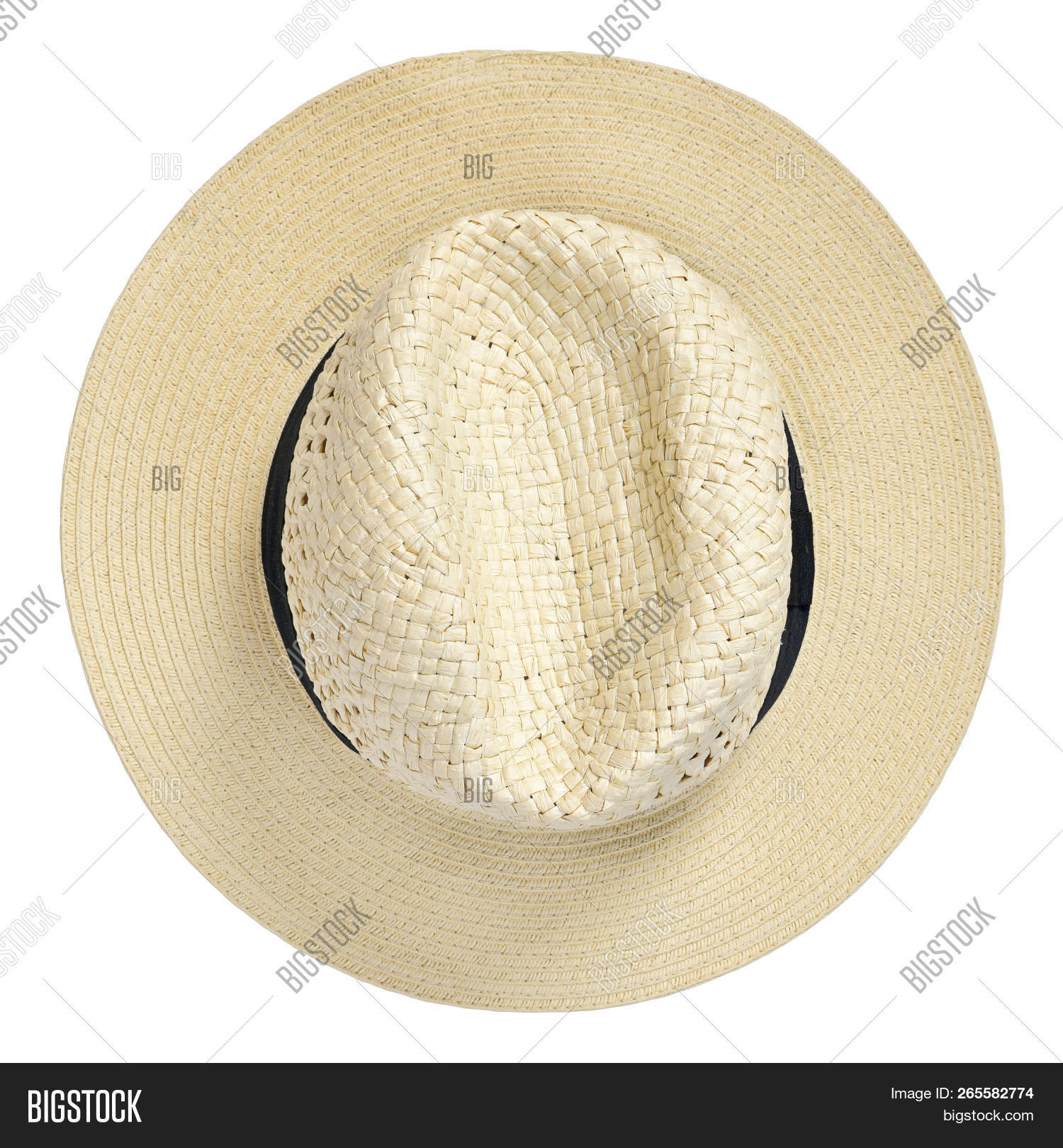c5bdac822df2e Panama Hat, Traditional Summer Hat With Black Hatband Or Ribbon, Isolated  On White Background