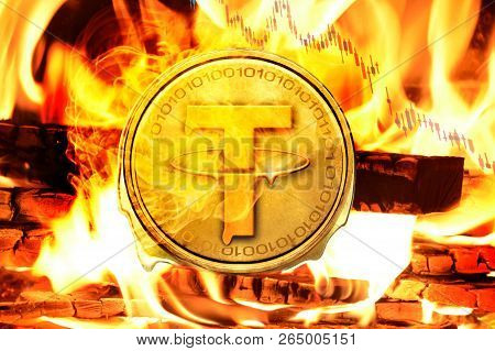 Tether Coin Or Usdt Coin Buring In Bonfire, Price Value Going Down  Concept Photo
