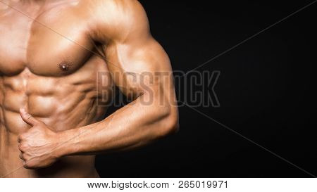 Portrait Of Sporty Strong Muscle. Sport Workout Bodybuilding Motivation Concept. Sexy Naked Torso, S