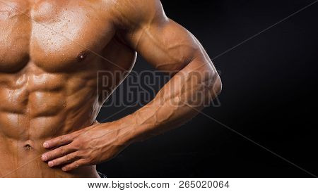 Strong Athletic Man Muscular Body, Torso Six Pack Abs, Perfect Male Abdominal Muscles Close Up. Spor