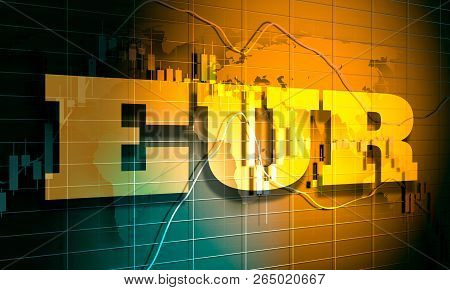 Forex Candlestick Pattern. Trading Chart Concept. Financial Market Chart. Euro Symbol. 3d Rendering