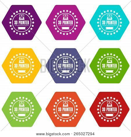 Prototype 3d Printing Icons 9 Set Coloful Isolated On White For Web
