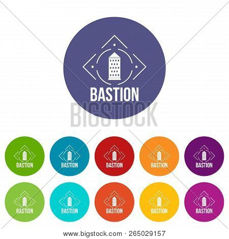 Bastion Icons Color Set Vector For Any Web Design On White Background