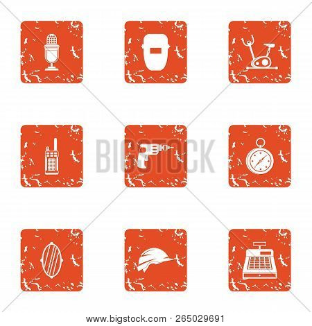 Operating Time Icons Set. Grunge Set Of 9 Operating Time Vector Icons For Web Isolated On White Back