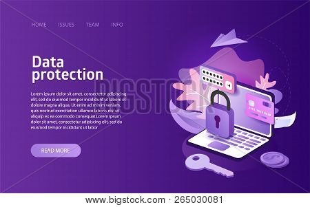 Data Protection Online Security Concept Business Marketing Layout For Website Landing Header