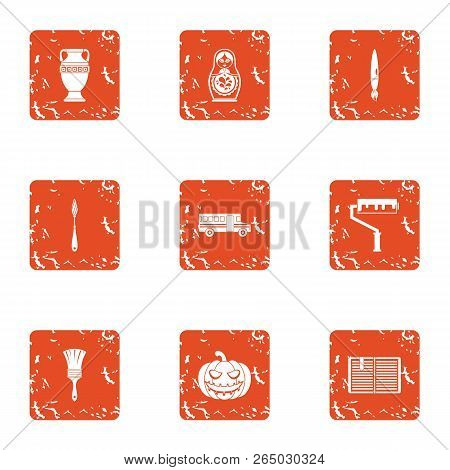 Portrayal Icons Set. Grunge Set Of 9 Portrayal Vector Icons For Web Isolated On White Background