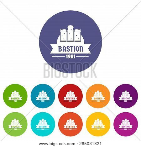 Kingdom Bastion Icons Color Set Vector For Any Web Design On White Background