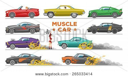 Muscle Car Vector Racing Speedcar On A Track And Retro Race Auto Driving On Rally Sport Event Formul
