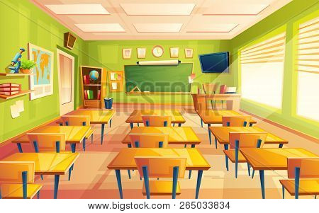 Cartoon Empty Elementary Or High School, College, University Classroom Background. Illustration With