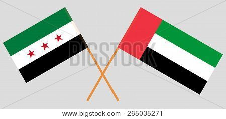 Syria Opposition And United Arab Emirates. Syrian National Coalition And Uae Flags. Official Colors.