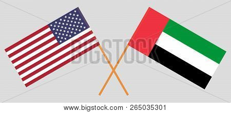 Usa And Uae. Flags Of United States Of America And Arab Emirates. Official Colors. Correct Proportio