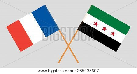 Crossed Syrian National Coalition And France Flags. Official Colors. Correct Proportion. Vector Illu
