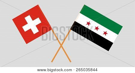 Crossed Syrian National Coalition And Switzerland Flags. Official Colors. Correct Proportion. Vector