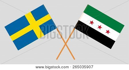 Crossed Syrian National Coalition And Sweden Flags. Official Colors. Correct Proportion. Vector Illu