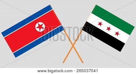 Crossed Flags Of Syrian National Coalition And North Korea. Official Colors. Correct Proportion. Vec