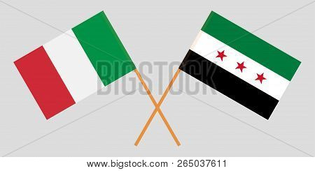 Crossed Syrian National Coalition And Italy Flags. Official Colors. Correct Proportion. Vector Illus