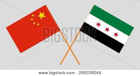 Crossed Syrian National Coalition And China Flags. Official Colors. Correct Proportion. Vector Illus