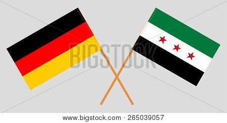 Crossed Syrian National Coalition And Germany Flags. Official Colors. Correct Proportion. Vector Ill
