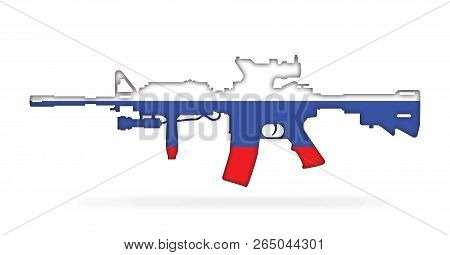 Rifle With Russian Flag Painted On, Isolated On White Background 3d Illustration
