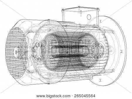 Electric Motor Sketch. Vector Rendering Of 3d. Wire-frame Style. The Layers Of Visible And Invisible