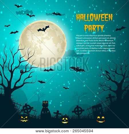 Halloween Party Night Moon Poster With Glowing Moon On Night Star Sky And Cemetery Crosses Over Grav