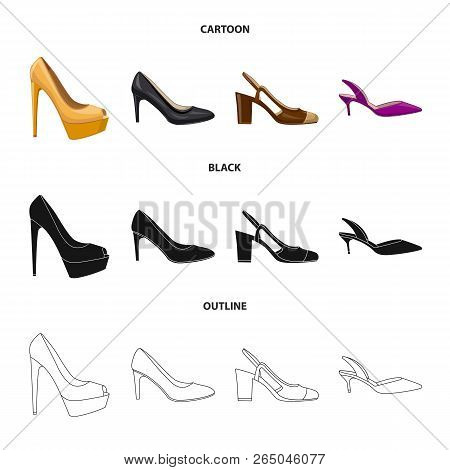 Vector Illustration Of Footwear And Woman Logo. Collection Of Footwear And Foot Stock Vector Illustr