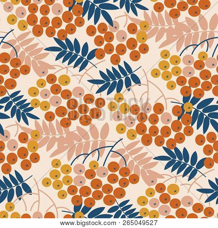 Autumn Decorative Rowanberry Seamless Pattern. Simple Fall Berries Repeatable Motif  For Fabric, Wra
