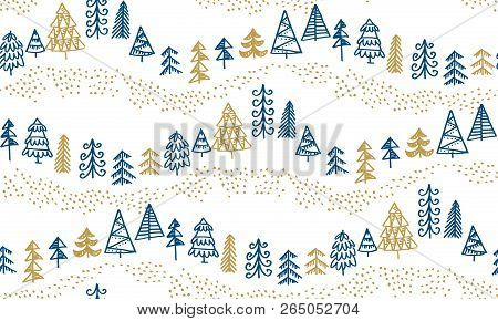 Minimal Xmas Tree Hand Drawn Sketch Seamless Pattern. Holiday Christmas Trees For Wrapping Paper, Sc