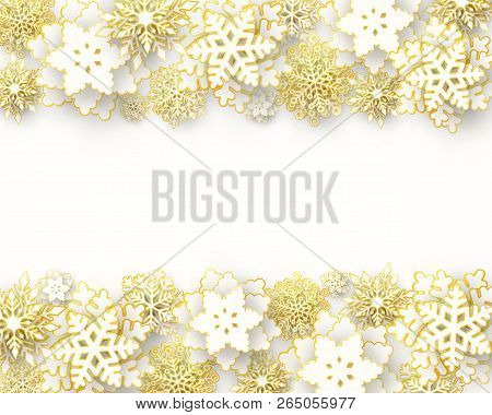 Vector Merry Christmas And Happy New Year Greeting Card Design With 3d White And Gold Layered Paper