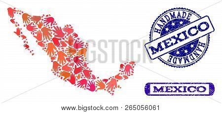Handmade Craft Composition Of Mosaic Map Of Mexico And Corroded Seal Stamps. Mosaic Map Of Mexico Co