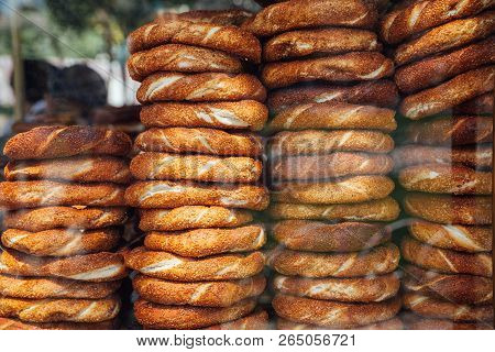 Stacks Of Simit Bread At A Street Stall In Istanbul, Turkey