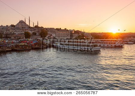 A Beautiful View Of The Golden Horn And The Suleymaniye Mosque At Sunset In Istanbul, Turkey